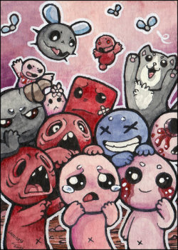 more awesome isaac fan art by Lumary92 http://lumary92.deviantart.com/art/ACEO-Isaac-with-friends-xD-369891949