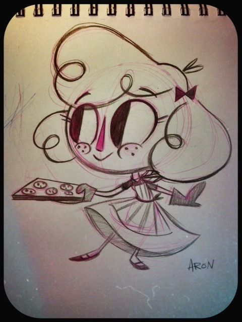 aronjshay:  A little sketch from earlier today- Miss Cookie baking cookies (Early 1960's) Pencil & paper | Additional Miss Cookie Aron J. Shay | Tumblr | Facebook