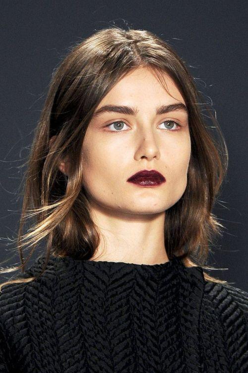 beauty fashion long hair dark lips winter bushy eyebrows