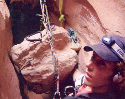 Photos taken by Aron Ralston, before and after he had to cut off his arm.
