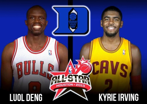 Congrats to Duke's NBA All-Stars Luol Deng and Kyrie Irving. Luol is averaging 17.4 PPG and leads the NBA in MPG. Kyrie is the 6th-youngest All-Star ever and ranks 6th in scoring (23.7 PPG). — DBP
