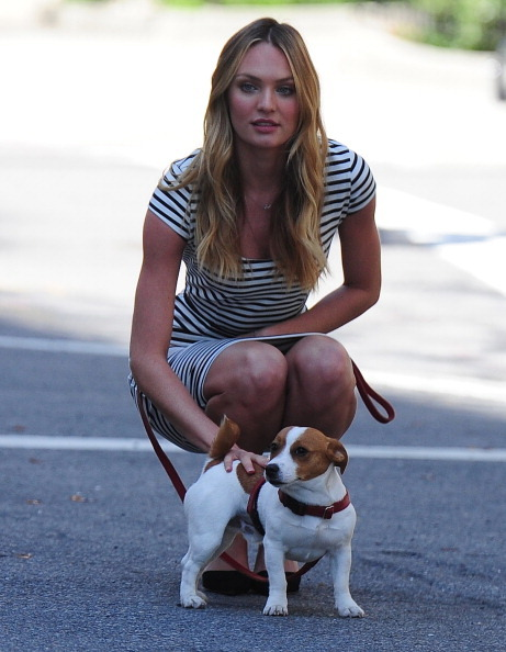 vsupdates:  Candice Swanepeoel and her dog Milo during a photo shoot for VS in NYC on April 25, 2013