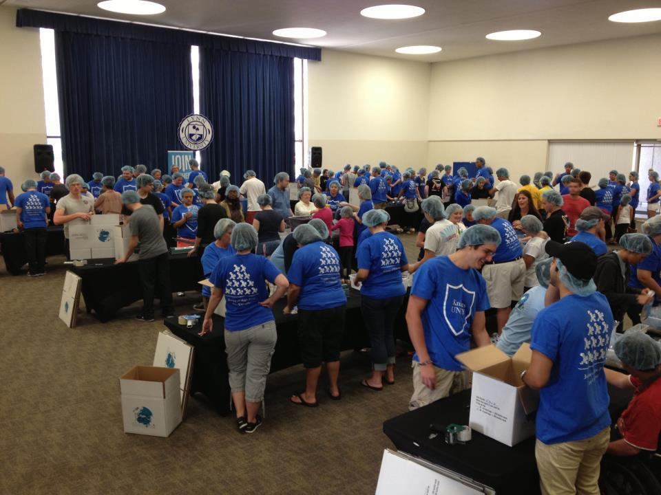 Students and faculty at Lynn University hand-packaged 20,000 meals for Haiti as part of Knights Unite Day of Caring, an event to honor those lost in the 2010 Haiti earthquake.