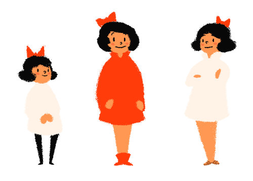 Variations on a character design. Still Eating Oranges