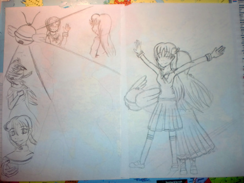 "The sketches for lerenien-sei's Christmas present. The first part (right) was already sketched out at the beginning of November, following up by… nothing. I'm ashamed to say it, but the remaining part was finished right on the 23rd December - one freaking day before the ""deadline"" orz I kinda couldn't think of anything for the background. I mean, I had a vague idea what I wanted to draw and such, but I need the whole picture in my head before I can start drawing. I was actually really proud of the sketches. I mean it and then I did something horrible. I outlined and colored it orz.  My favorite part of the sketch is Grey. I honestly grow attached to him even more after stuff happens. The is the big brother one could only wish for. I'm not really used to draw males and was all the more surprised that I got him on my first try. Those eyes! One moment later I realized: ""Lyrica, all the Otome Game CGs are really rubbing off you"" because fuck yeah, this kind look on his face just reminds me of oh so many wonderful lovulovu CGs >3< No wonder that I used an actual Otome Game CG as reference for his hand. Looking back at the final piece of art, I'm not satisfied anymore which is good in its own way. I'm more than glad that my surprise worked out and you like my present,  lerenien-sei, but I promised myself again: you'll get something ""better"" next time. Just you wait! :>"