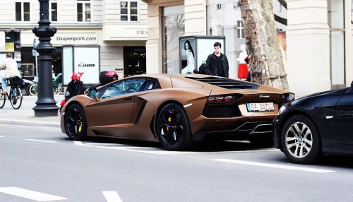 automotivated:  crash—test:  Brown Lamborghini Aventador in Berlin (by SSsupersports)