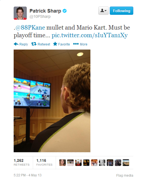 springhazzze:  The Blackhawks are playing mario kart and TWEETING about it!!! UGH FREAKING LOVE THISS!!!!!!