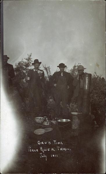 maybeedmonton:  Grub time, Peace River Trail, July 1911.