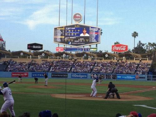 Robsh14 had this amazing and action packed view at Dodger Stadium.He could see all of the pitches, the swings, & the ump calls from behind the home plate net.In his excellent photo, the L.A. Dodgers CF, Matt Kemp is at bat against, the Pittsburgh Pirates ace, AJ Burnett. (via Dodger Stadium section 5FD row B seat 5 - Los Angeles Dodgers vs Pittsburgh Pirates shared by Robsh14)