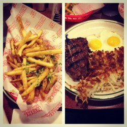 NORMS. Steak. Hash browns. Eggs. Parmesan Garlic Fries. Pancakes. Full. #epicfoodcoma