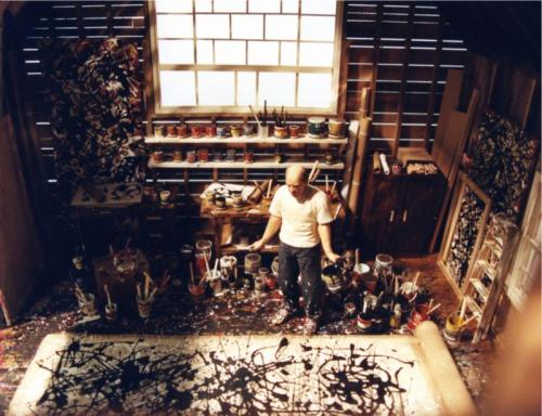 ryandonato:  Artists in their studio  Jackson Pollock studio, ca. 1950, Springs, Long Island, New York Claude Monet ca. 1924 in his third studio, Giverny Roy Lichtenstein, studio, Southampton, New York Pablo Picasso, not listed.