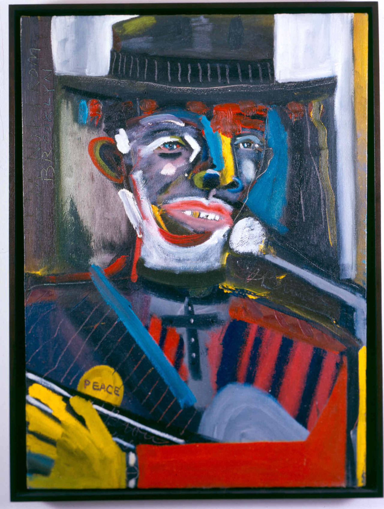 "Frederick Brown  (1945–2012)Stagger Lee in Concert,1983 oil on linen 38 1/4"" x 28 1/8""The Studio Museum in Harlem; Gift of Byron E. Lewis 88.8 Ten years ago, our Spring 2003 exhibition was Frederick Brown: Portraits in Jazz, Blues and Other Icons"