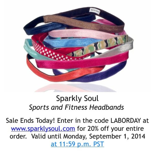 Last hours for @sparklysoulinc 20% off Labor Sale!  LIKE this post or COMMENT below with your sparkly Labor Day plans to enter to win 1 of 5 headbands! 5 winners chosen at random on 9/2 from all social media!  Use code LABORDAY at www.sparklysoul.com for 20% off your entire order. Valid until Monday, September 1, 2014 at 11:59 p.m. PST - Cannot apply to past orders or wholesale.  AND Buy 5 or more headbands and receive 1 surprise headband free!  SHARE this Sparkly Soul sale with your family and friends on social media with hashtag #sparklysoullaborday and be entered to win 12 headbands of your choice. One winner chosen at random on 9/2/14. Enter now until 9/1/14 at 11:59 p.m. PST - enter as many times as you would like! #laborday #sale #shop #sparkle #laborday2014 #sparklysoulheadbands #fullelastic #nopieceofblackelasticintheback #headbands #guaranteed #labordaysale #LaborDayWeekend #backtoschool #backtoschoolsale #falltrends #fitness #fashion