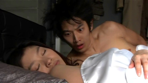 "Two for One! Eita shoulder (and collarbone) with a peek at Shinohara Ryoko's shoulder. Watching ""Unfair"" is worth it even if only for the Eita/Ryoko morning after scene. ~~~~~ His face is cracking me up though…"