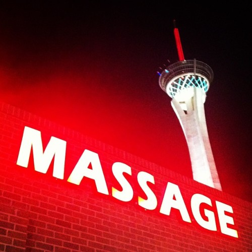 The juxtaposition of the Asian Massage joint and the super phallic Stratosphere in the background struck me as really funny.