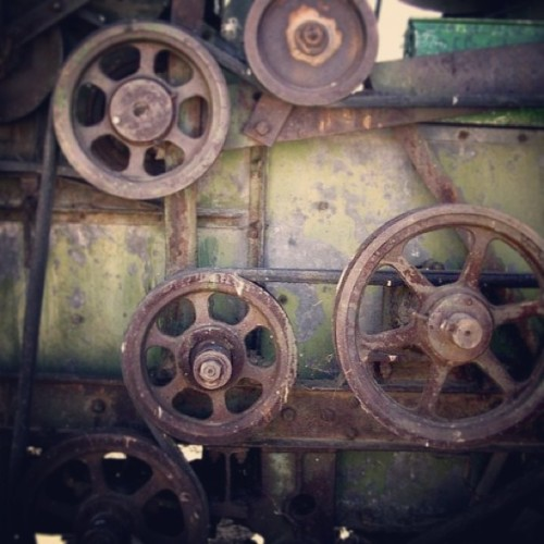 #grears on a #combine #industrial #farm #steampunk #antique #rust #metal #car #truck #1920's #outdoors #wheat #field