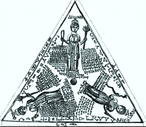 Drawing of a bronze tablet found at Pergamon. It depicts three crowned goddesses labeled as ΔΙΟΝΗ (Dione), ΦΟΙΒΙΗ (Phoibie or Phoebe), and ΝΥΧΙΗ (Nychie), each surrounded by dense inscriptions, mostly untranslatable syllables for incantation (voces magicae). The inscription around Phoebe invokes Persephone, Melinoë, and Leucophryne. The lettering dates the inscription to the first half of the 3rd century AD. Esoteric symbols are inscribed along the edges. The center hole suggests that the tablet was suspended over a surface and used for divination.