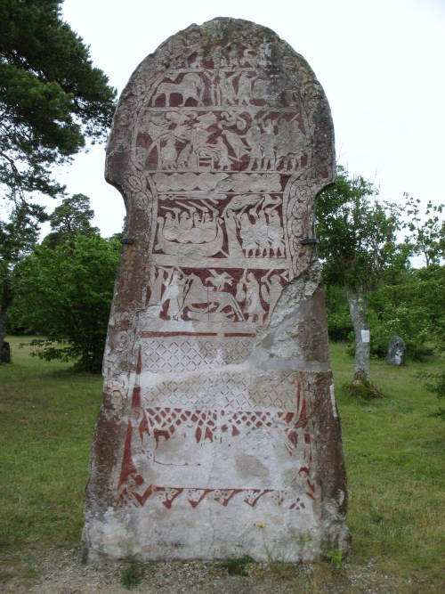 ancientart:  One of the four Stora Hammars image stones, Viking Age, located in Gotland, Sweden. Photo courtesy & taken by Berig