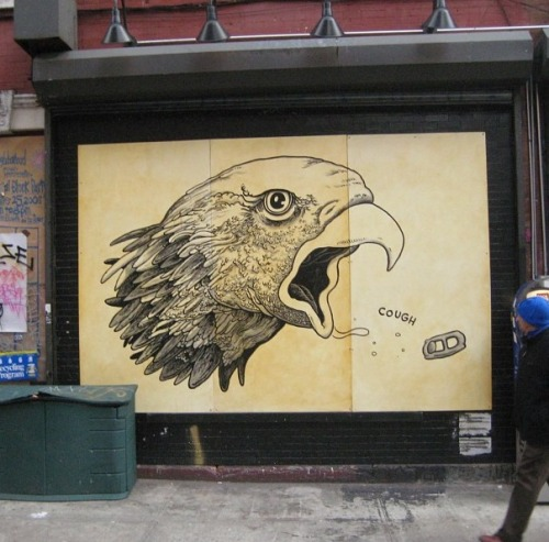 Coughing Eagle on a wall in NY from a couple years ago by artist Travis Millard.