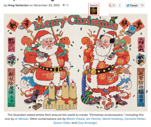 "The Guardian asked artists from around the world to create ""Christmas screensavers,"" including this one by Ai Weiwei. Other screensavers are by Martin Creed, Urs Fischer, David Hockney, Cornelia Parker, Susan Hiller, andCory Arcangel."