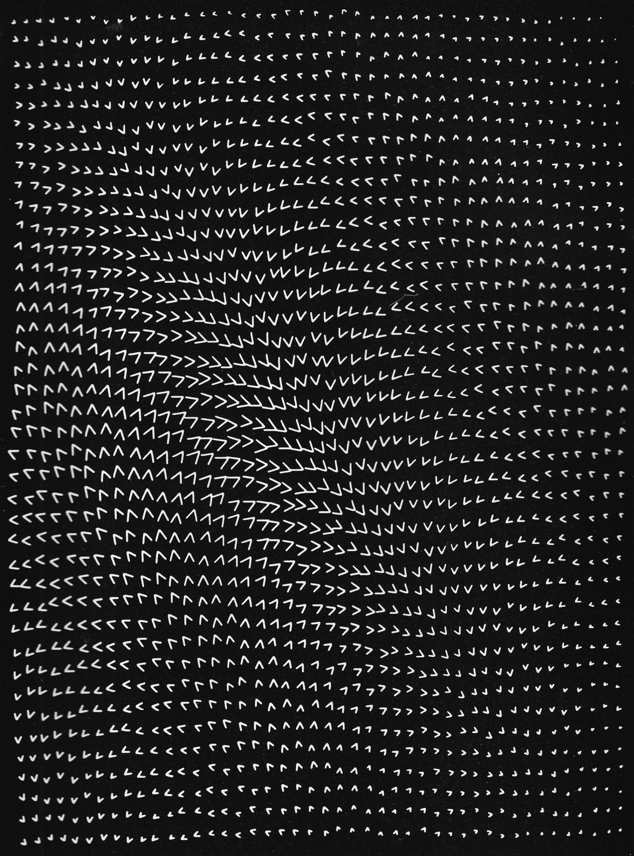 betonbabe:  MASAO KOMURA 'OPTICAL EFFECT OF INEQUALITY', COMPUTER GRAPHIC BASED ON AN ALGORITHM USING AND DISPLAYING THE GREATER-THAN SIGN, 1968