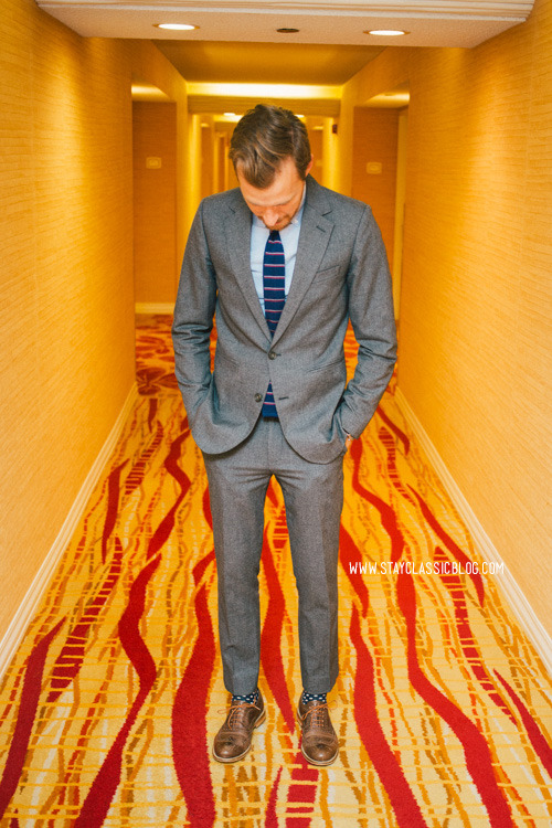 April 28, 2013 - Night. First suit of the Vegas trip. I am also wearing another tie from The Tie bar, which has the best deals and the most variety of ties and I don't think I'll buy a tie from anywhere else lol. I also got this oxford from Bonobos and it's the softest oxford I've ever felt. And why not mix polka dot socks with a striped tie? Suit: Vanishing Elephant Quincy Suit - $230 (Gilt) (similar)Shirt: Rhodes Collar Slim Oxford - BonobosTie: Knarrow Knit - The Tie Bar - $15Shoes: J. Shoes Charlie - Jack ThreadsSocks: Topman - $~4 (similar)Watch: Timex - Amazon - $31