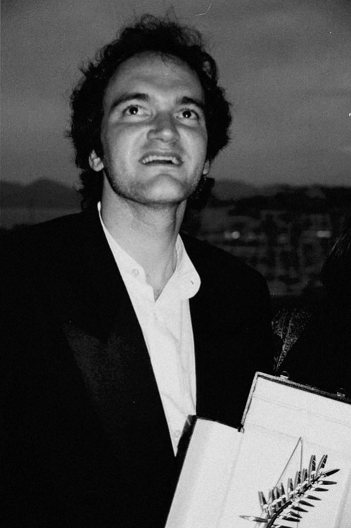 Quentin Tarantino with his Palme d'Or for Pulp Fiction