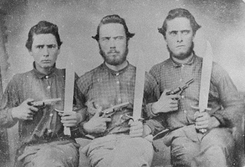 Georgia Brothers- Daniel, John, and Pleasant Chitwood, ca 1861 - 1865 Description: Gordon County, ca. 1861-1865. These three brothers all served in Co. A, 23d Regiment Georgia Volunteer Infantry during the Civil War. Holding handguns and knives. County:Gordon County Held by:Georgia Archives, 5800 Jonesboro Road, Morrow, GA 30260 Credit: Vanishing Georgia, Georgia Division of Archives and History, Office of Secretary of State.