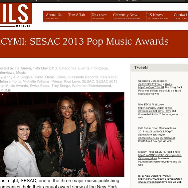 Interviewed #michellewilliams #angelahunte #andyallo #ricolove and #swizzbeatz last night at the SESAC 2013 Pop Music Awards! #sesacawawards.