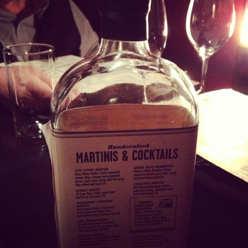 maker's mark bottle as a menu.