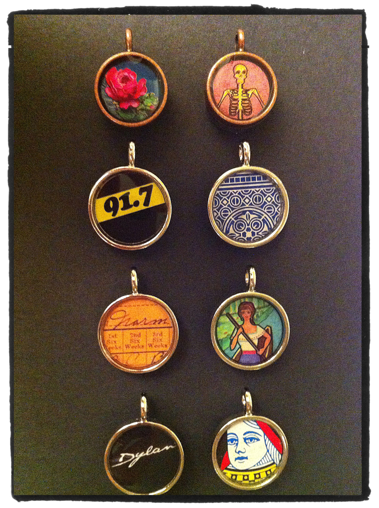 Resin pendants I made for Christmas 2012 gifts….this was my first time using resin and lawdy, it is addicting!!