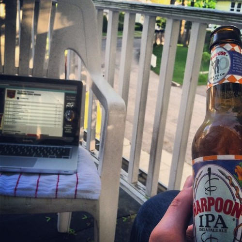 harpoon and tunes on the porch #friday #twy #harpoon #spotify #porch #throwatoweldown
