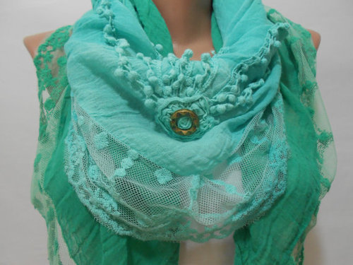 Mint Green Lace Scarf Shawl Mint Green Cowl Scarf by ScarfClub on We Heart It. http://weheartit.com/entry/61865419