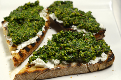 arugula and pistachio nut pesto with creamy goat's cheese on toast from G2 Food