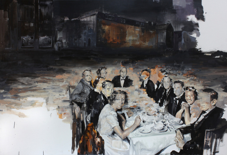 Julien Spianti. The Party (you're the thirteenth). Oil on canvas,
