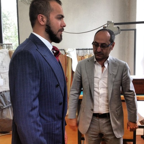 Fitting Time! In D'avenza #lucianobarbera #davenza #sartorial #taylored #taylor