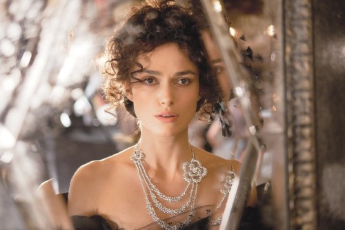 Anna Karenina - Keira Knightley as the protagonist wearing a Chanel Haute Joaillerie camellia diamond necklace.