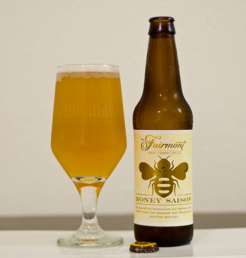 Almanac Brewing Co. | Fairmont Honey Saison Almanac brews a Honey Saison in their 12oz line with honey from Marshall Farms, however they produce a distinctive line just for The Fairmont Hotel's Nob Hill location. The honey is made from the hives up on Fairmont's rooftops, which are managed by Marshall Farms.  This beer pours bright and crisp. Notes of apricots, honey, and mint. Has a nutty element which I couldn't place and a good evanescence with small consistant bubbles.