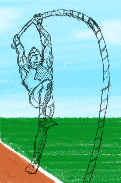 Daily Sketches. My15 yr old son pole vaulted 8.5 ft today.