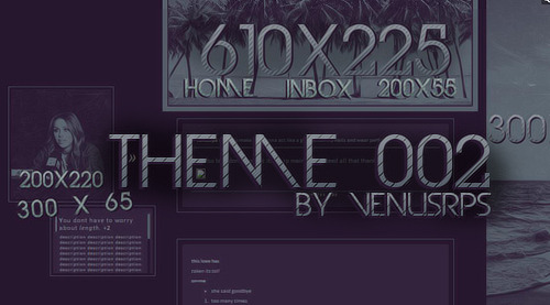 "venusrps:  VENUSRPS THEME 002 ""THE RPG MAIN THEME""  I'm not sure how it looks on a Mac because I have windows. So, sorry?  Listen up, please. +Don't take parts of the code and just slap it on your own theme. +Don't edit and redistribute/repost. +You can edit it, just don't post your version of it. +Don't remove the credit or move it to a second page. Come on, it's so small. +I'm saying please.  Please like/reblog if you use!  {PREVIEW x CODE}"