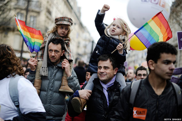 Lawmakers in France are considering whether to legalize same-sex marriage and let gay couples adopt. Thousands in France rallied today in Paris. But of all the photos, we remembered this one the most. (View More)