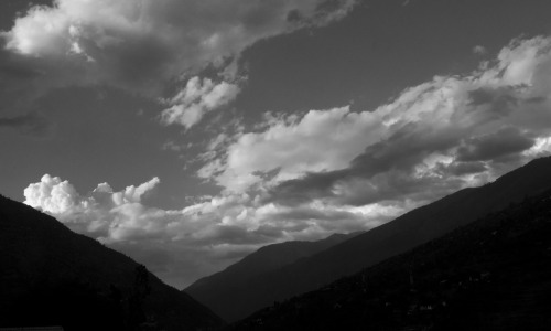 Clouds at dusk. Looking north. Valley of Gods, Indian Himalayas.