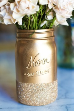 metallic mason jar of flowers