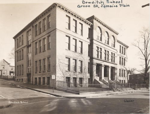 Bowditch School, Green Street, Jamaica Plain, School building photographs circa 1920-1930 School building photographs circa 1920-1960   (Collection # 0403.002)    This work is free of known copyright restrictions.  Please attribute to City of Boston Archives. For more photos from this collection, click here
