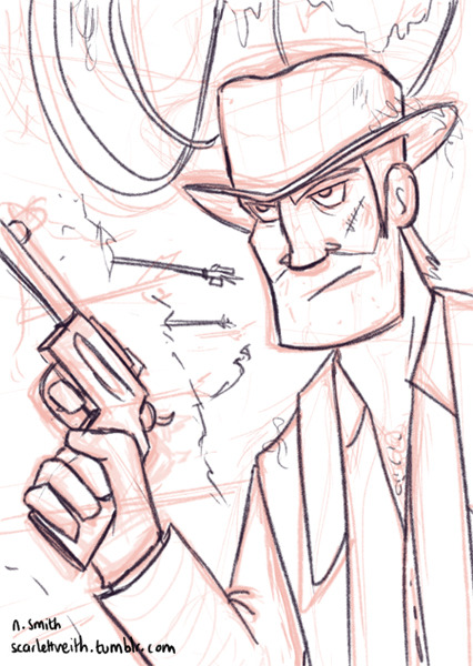 Indy sketch. May change a few things in the final illustration, such as a whip instead of the gun.