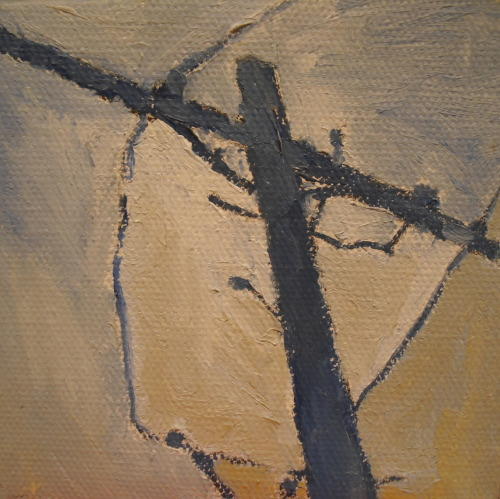 "Annica Damico Midwest Looking Up, oil paint on canvas. 4""x4"""