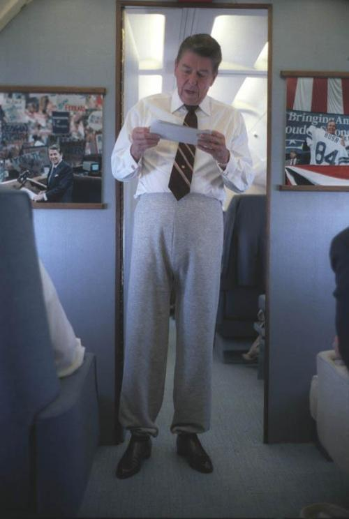 President Ronald Reagan rocking the sweat pants on Air Force One- The leather shoes bring it together!