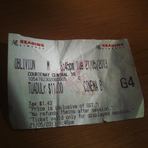 #movieticket #oblivion actually really quite good! #tomcruise didn't suck.