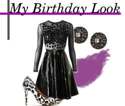 My Birthday Look #2 Mango long sleeve mesh dress  Mini skirt  Leopard heels  Bita Pourtavoosi gunmetal earrings  Bobbi Brown Cosmetics