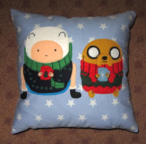 Custom Adventure Time Cushion Embroidered felt design on cotton cushion, one of the last custom orders of the season :( www.thenightofthelivingthread.com